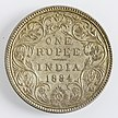 India 1 rupia 1884 Victoria (retromarcia)