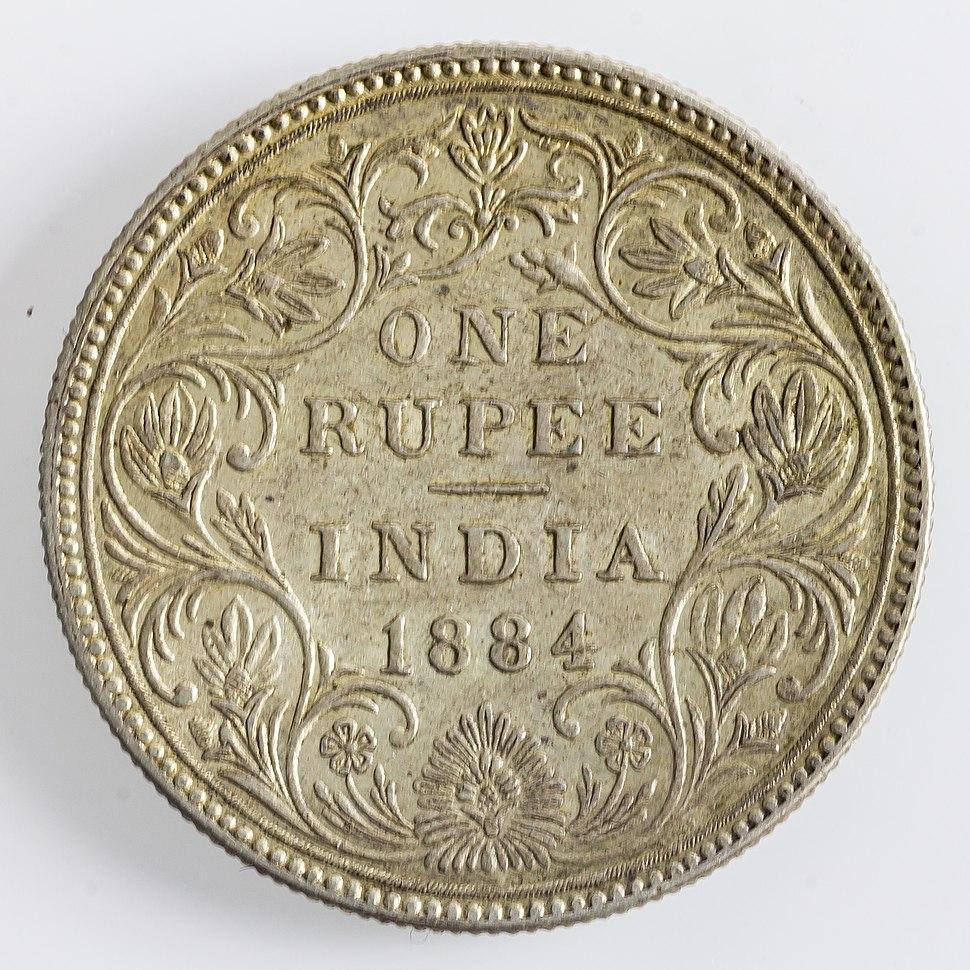 India 1 Rupee 1884 Victoria(rev)-4038