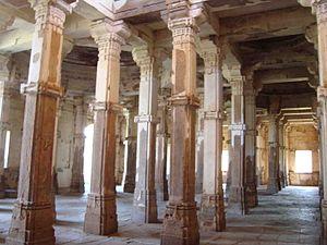 Jama Mosque, Champaner - Interior pillars of Jama Masjid.