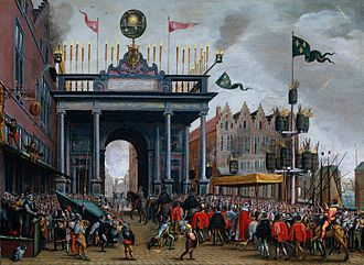Siege of Eindhoven (1583) - The joyous entry of the Duke of Anjou into Antwerp, February 19, 1582, a year before his attempt to take the city by force. Rijksmuseum Amsterdam.