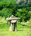 Inuksuit marking Canada's building site at Auroville, Tamil Nadu, India.jpg