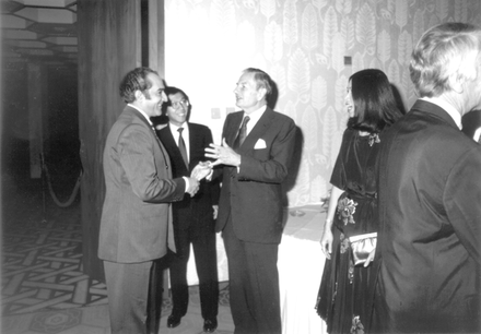 David Rockefeller and Jawad Hashim from Iraq in 1980. Investcorp HashimRockefeller.png