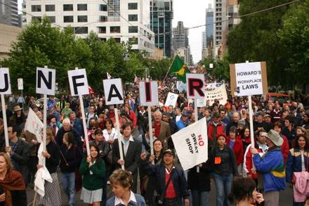 Protest against industrial relations legislation in Melbourne in 2005.