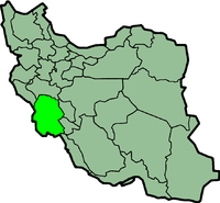 Map of Iran with ख़ूज़स्तान highlighted.