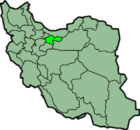 Map of Iran with तेहरान highlighted.