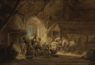 Peasants drinking and playing backgammon in an interior