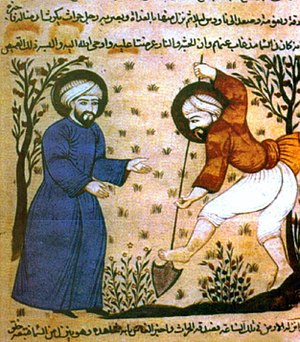 Arab Agricultural Revolution thesis - Agricultural scene from a mediaeval Arabic manuscript from Al-Andalus (Islamic Spain)