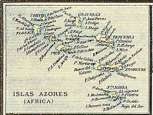 History of the Azores - The islands of the Azores as they appeared in an 1818 map by J. Dosserray (ed.)
