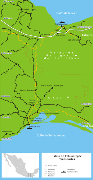 A more detailed map than the one in the infobox. This map shows roads and ports, as well as the railroad; map legend is in Spanish