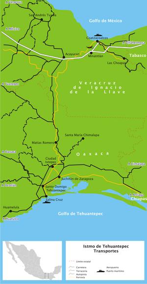Una mappa più dettagliata di quella nell'infobox.  Questa mappa mostra strade e porti, nonché la ferrovia;  la legenda della mappa è in spagnolo