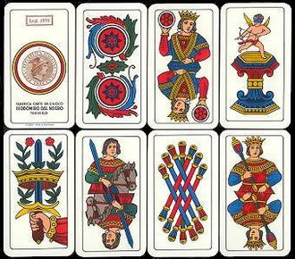 Cassino (card game) - A set of eight Bergamasche Cards