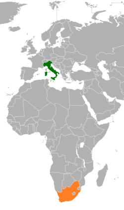 Map indicating locations of Italy and South Africa