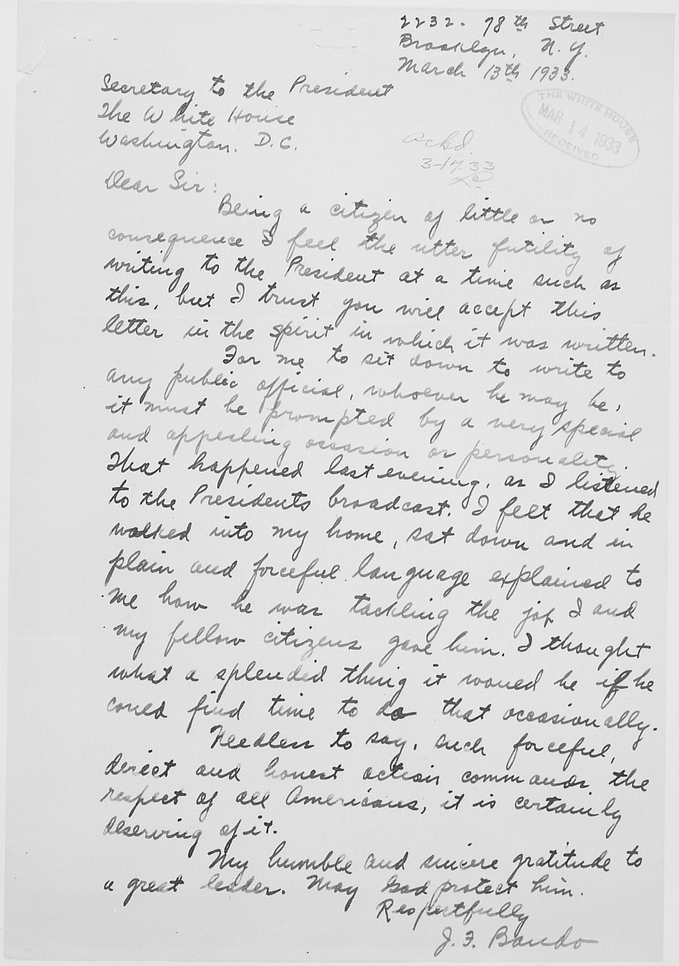J. F. Bando letter to Franklin D. Roosevelt in reaction to first Fireside Chat. - NARA - 198124