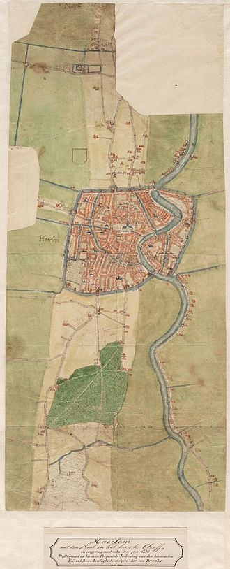 Haarlemmerhout - Early map of Haarlem from 1560 showing the Haarlemmer Hout much as it is today