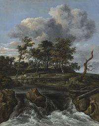 Jacob van Ruisdael - Landschap met waterval en een houten voetbrug.jpg