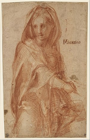 Jacopo Pontormo (actually Jacopo Carrucci) - Female figure with covered head (study for a figure in the fresco of the Visitation in Santissima An... - Google Art Project.jpg