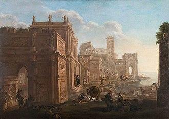 Alessandro Salucci - Architectural capriccio depicting the Arch of Constantine, the Colosseum and Santa Maria in Cosmedin, with Jan Miel
