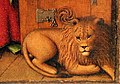 Jan van eyck, san girolamo nello studio, 1435 ca. 04 leone.jpg