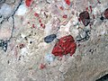Jasper pebbles in quartzite (Lorrain Formation, Paleoproterozoic, ~2.3 Ga; Ottertail Lake Northeast roadcut, near Bruce Mines, Ontario, Canada) 25 (33831818098).jpg