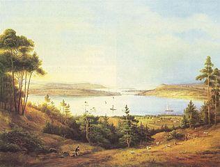 Potsdam, Baumgartenbrücke und Werder vom Krähenberg in Caputh aus