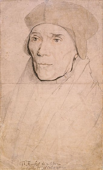 Bishop John Fisher, by Hans Holbein the Younger. Fisher refused to recognise Henry VIII's marriage to Anne Boleyn John Fisher, Bishop of Rochester by Hans Holbein the Younger.jpg