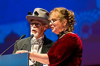 Trans-Atlantic Fan Fund - TAFF delegate John Purcell together with GUFF delegate Donna Maree Hanson at the Hugo Award ceremony at Worldcon in Helsinki 2017.