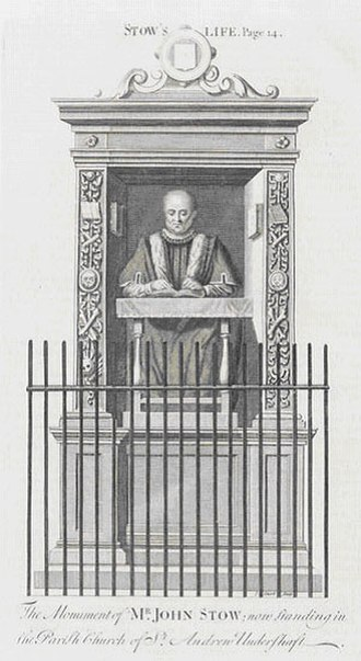 John Stow - An 18th-century engraving of Stow's monument