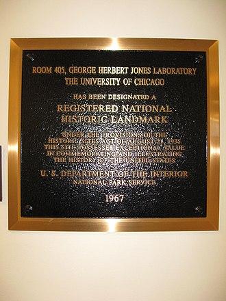 George Herbert Jones Laboratory - Image: Jones Laboratory Room 405 Plaque