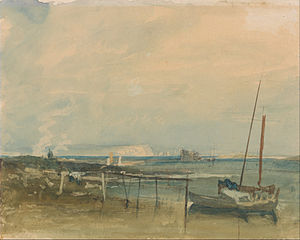 Coast Scene with White Cliffs and Boats on Shore