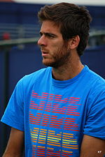 Juan Martín del Potro on the practice court of the Aegon Championships