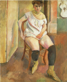 JulesPascin-1908-Woman Putting on Yellow Rubber Boots.png