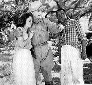 Jungle Menace - Left to right: Charlotte Henry, Frank Buck, and Clarence Muse in Jungle Menace