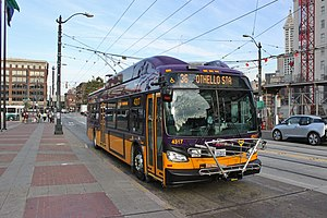 Trolleybuses in Seattle - New Flyer Xcelsior XT40 trolleybus on route 36 in Seattle's Chinatown-International District.
