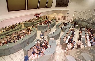 Launch Control Center - Control Room 1 configured for space shuttle launches