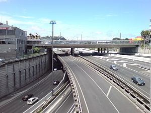 Central Motorway Junction - View southwards from Hopetoun Bridge, showing the three-level structure under K'Road.