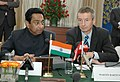 Kamal Nath and the Austrian Federal Minister of Commerce and Labour, Mr. Martin Bartenstein, at a Joint Press Briefing, on the outcome of the bilateral meeting, in New Delhi on December 11, 2007.jpg