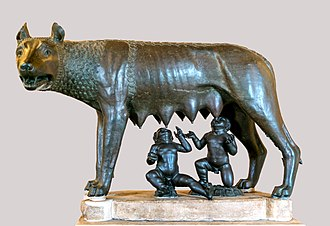 Founding of Rome - Capitoline Wolf, sculpture of the she-wolf feeding the twins Romulus and Remus, the most famous image associated with the founding of Rome