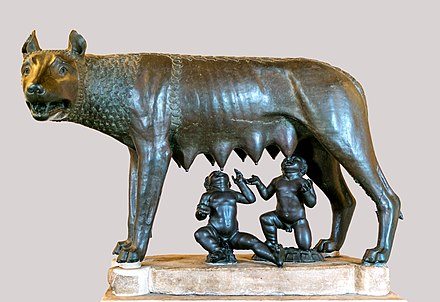 Capitoline Wolf, sculpture of the mythical she-wolf suckling the infant twins Romulus and Remus. Kapitolinische Wolfin Museum Capitolini.jpg
