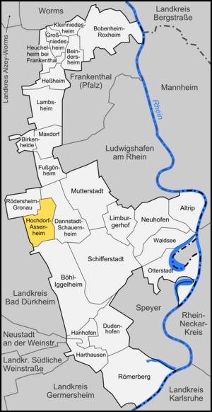 Hochdorf-Assenheim - Image: Karte Hochdorf Assenheim