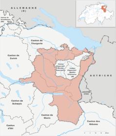 """Mapa konturowa Sankt Gallen, blisko centrum na prawo znajduje się punkt z opisem """"Uniwersytet w St. Gallen"""""""