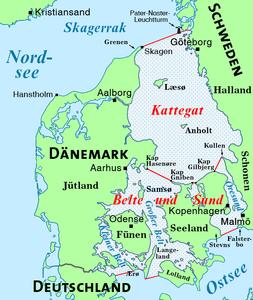 """Karte der Seegebiete """"Kattegat"""" und """"Belte und Sund"""""""
