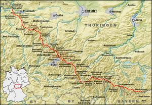 Rennsteig - Image: Karte Verlauf Rennsteig