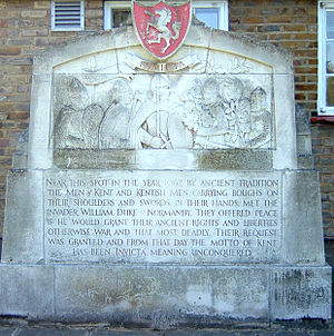Gavelkind - Monument at Swanscombe recording the legend of how Kent managed to extract concessions from William the Conqueror.