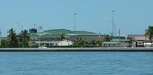 Key West International Airport - The terminal as seen from the Atlantic Ocean