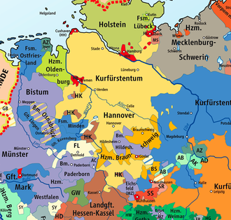 Duchy of Oldenburg - Location of the later Duchy of Oldenburg within the Holy Roman Empire.