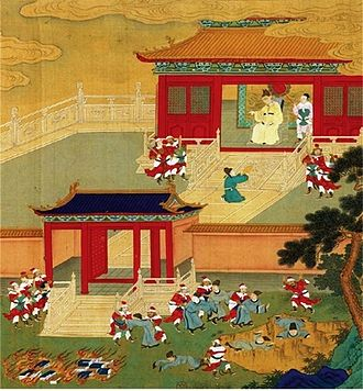Book burning - ''Killing the Scholars and Burning the Books'' in 210-213 BCE (18th century Chinese painting).