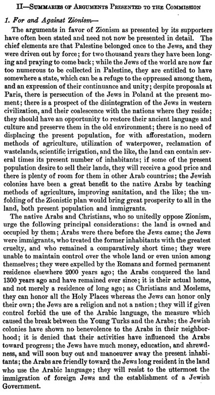 During the 1919 Paris Peace Conference, an Inter-Allied Commission was sent to Palestine to assess the views of the local population; the report summarized the arguments received from petitioners for and against Zionism. King Crane Commission 1919 Summary of Arguments Presented to the Commission For and Against Zionism.jpg