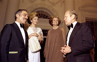 Alia Al-Hussein - Queen Alia (left) with her husband following state dinner with Betty and Gerald Ford on 30 March 1976.
