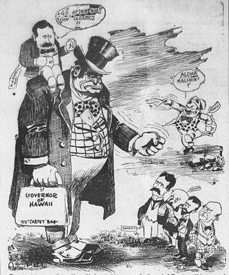 William Ansel Kinney - Political cartoon of 1912 depicting Kinney on the shoulder of a governor going after sugarcane plantation interests