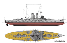 Illustration of SMS Radetzky; the ship carried two large gun turrets on either end and four smaller turrets arranged around two tall smoke stacks in the center.